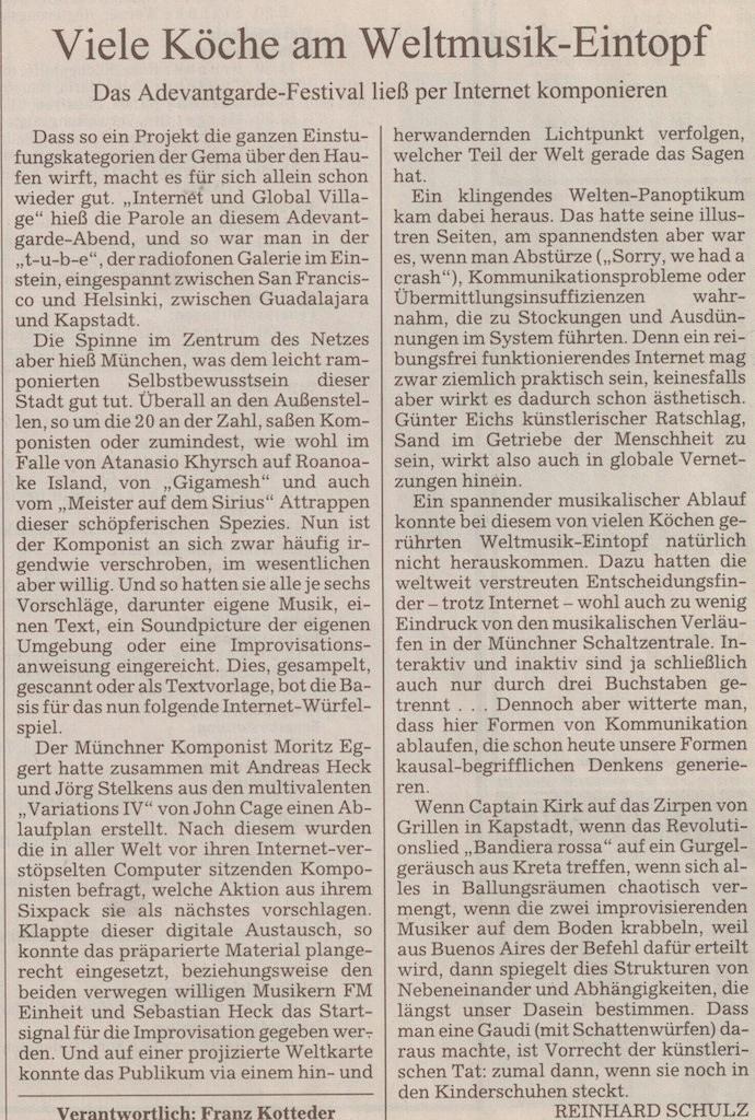 Rezension Variations IV.01, Süddeutsche Zeitung