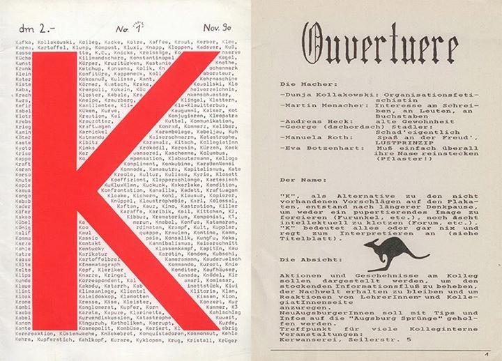 Der Kunsthansi schreibt für die Schülerzeitung K am Bayernkolleg Augsburg